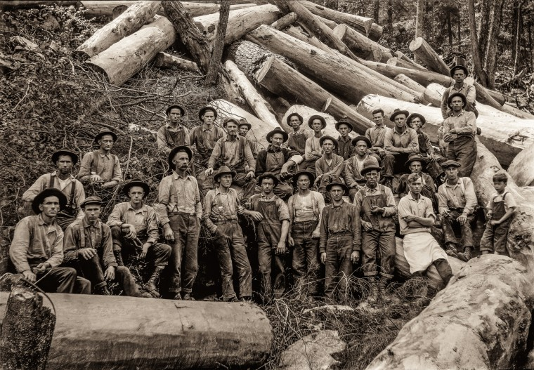 Finley Taylor had a crew of loggers pose with their harvest, date unknown.