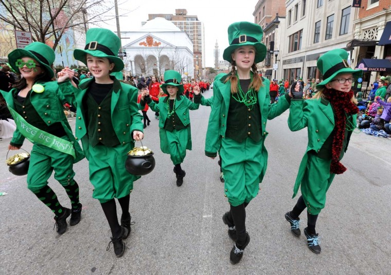 Members of the Teelin School of Irish Dance from Columbia participate in the St. Patrick's Day parade that began at Mount Vernon Square near the base of the Washington Monument, then proceeded south along Charles Street and east on Pratt Street. March 16, 2014. (Baltimore Sun photo)