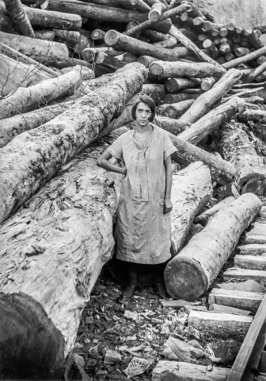 A young woman identified as Lillie Giles Barnett, date unknown, surrounded by some of the hardwood harvest awaiting shipment to Richwood's mills.