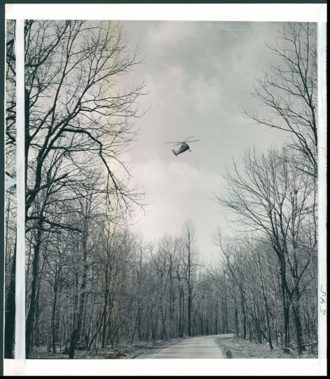 Helicopter lands at Catoctin Recreational Area in Thurmont, Maryland, home to Camp David, the presidential retreat. Photo dated April 19, 1959 (Baltimore Sun archives)