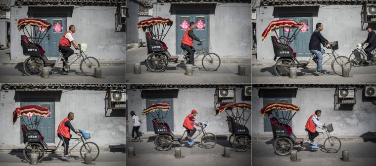 This combo shows photos taken on April 23, 2017 of rickshaw drivers riding in a touristic area in Beijing. Appearing in China at the end of the 19th century, rickshaws originally had two wheels and were pulled by their driver on foot, with passengers seated at the back. Today, most of the vehicles are tricycles - some still have pedals and are propelled by physical force, but the majority are equipped with electric or gas engines. (FRED DUFOUR/AFP/Getty Images)