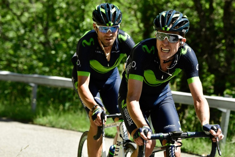Spain's Alejandro Valverde (L) rides in a breakaway behind his teammate Spain's Ruben Fernandez during the 147,5 km sixth stage of the 69th edition of the Criterium du Dauphine cycling race on June 9, 2017 between Villars-les-Dombes and La Motte-Servolex. (Philippe Lopze/AFP/Getty Images)
