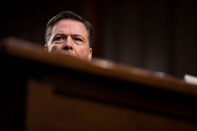 Former FBI Director James Comey testifies before the Senate Intelligence Committee in the Hart Senate Office Building on Capitol Hill June 8, 2017 in Washington, DC. Comey said that President Donald Trump pressured him to drop the FBI's investigation into former National Security Advisor Michael Flynn and demanded Comey's loyalty during the one-on-one meetings he had with president. (Photo by Drew Angerer/Getty Images)
