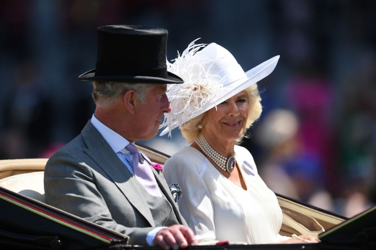 The Duke and Duchess of Cornwall arrive for the first day of Royal Ascot at Ascot Racecourse on June 20, 2017 in Ascot, England. (Photo by Mike Hewitt/Getty Images)