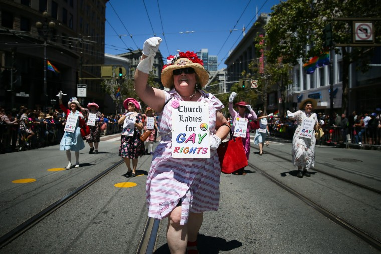 'Church Ladies for Gay Rights' march in the annual LGBTQI Pride Parade on Sunday, June 25, 2017 in San Francisco, California. The LGBT community descended on Market Street for the 47th annual Pride Parade. (Photo by Elijah Nouvelage/Getty Images)