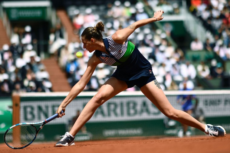 Czech Republic's Karolina Pliskova returns the ball to France's Caroline Garcia during their tennis match at the Roland Garros 2017 French Open on June 7, 2017 in Paris. (Christophe Simon/AFP/Getty Images)