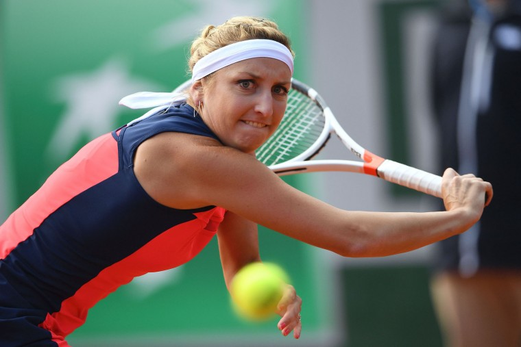 Switzerland's Timea Bacsinszky returns the ball to France's Kristina Mladenovic during their tennis match at the Roland Garros 2017 French Open on June 6, 2017 in Paris. (Eric Feferberg/AFP/Getty Images)