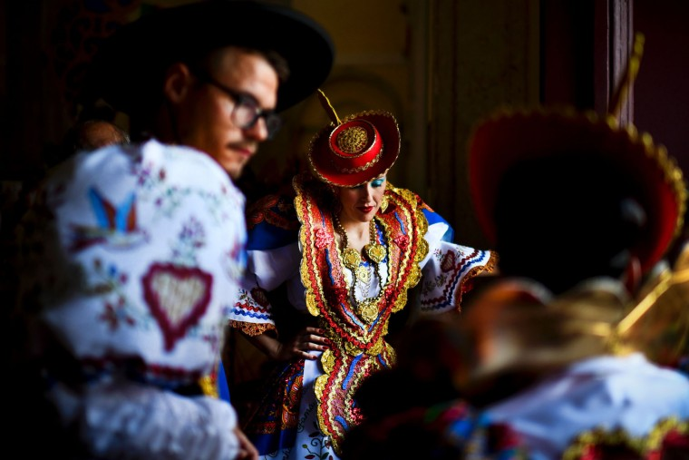 Participants dressed up in traditional costumes gather in the traditional Lisbon neighborhood of Alfama, before attending the Santo Antonio de Lisboa's Parade on Avenida da Liberdade, in Lisbon on June 12, 2017. Lisbon celebrates Saint Anthony's day, the city's protector saint, with a parade that gathers participants from several typical neighborhoods of the city. (Patricia de Melo Moreira/AFP/Getty Images)