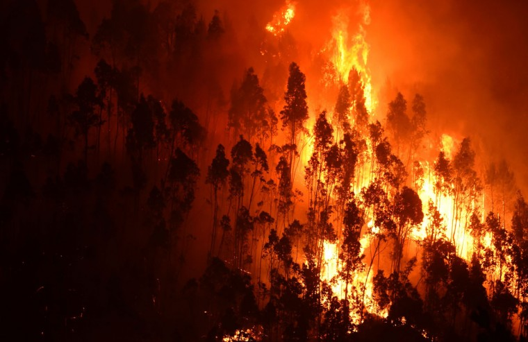 A picture taken on June 18, 2017 shows a forest in flames during a wildfire near the village of Mega Fundeira. Portugal declared three days of national mourning from June 18, 2017 after the most deadly forest fire in its recent history, raging through the centre of the country.The fire, which broke out June 17, 2017 in the Pedrogao Grande district, had killed at least 62 people and injured more than 50, according to the latest official update by Sunday afternoon. / (AFP Photo/Miguel Riopa)