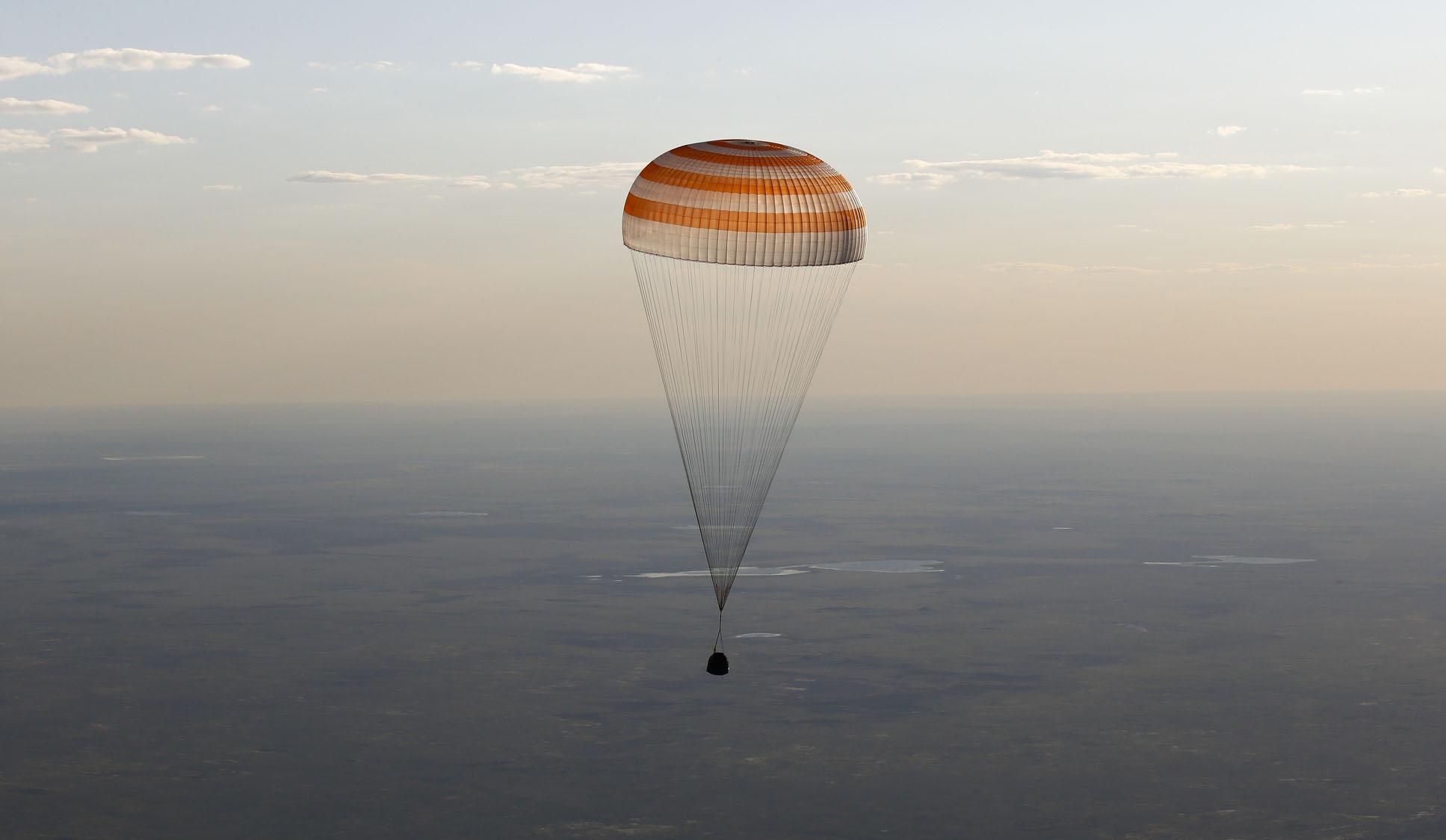 Russian Soyuz capsule lands in Kazakhstan
