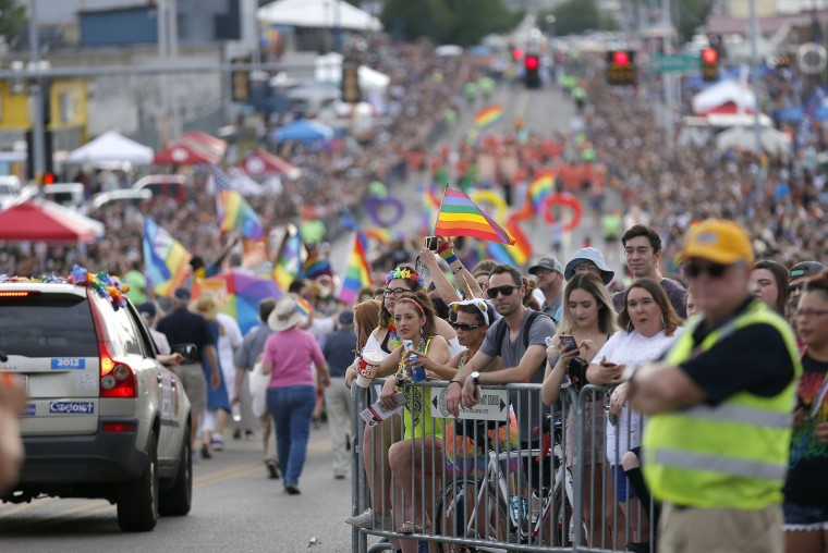 People watch during the Oklahoma City Pride Parade on Sunday, June 25, 2017, in Oklahoma City. (Sarah Phipps/The Oklahoman via AP)