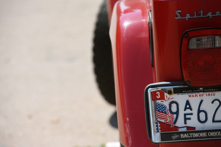 The War of 1812 bicentennial license plates were standard issue for Maryland drivers for six years. The images of the American flag, Fort McHenry and bomb blasts were replaced last year with with a depiction of the Maryland flag.  (Kim Hairston/Baltimore Sun)