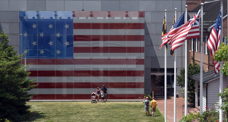 The Great Flag Window of the Star-Spangled Banner Flag House museum is the size of the garrison flag designed by Mary Pickersgill for Fort McHenry.  (Kim Hairston/Baltimore Sun)
