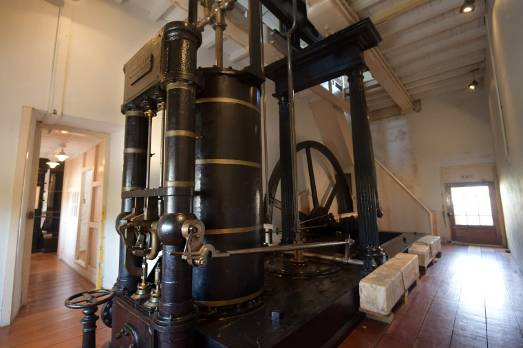 The east engine of the wheel pumping plant of the C&D canal used from 1854-1927 is now on display at the C&D Canal Museum.  (Algerina Perna/Baltimore Sun)