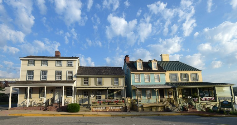 The Bayard House Restaurant on Bohemia Avenue at far right is an 18th-century home. The south Chesapeake City Historic District, pictured, is in the National Register of Historic Places. (Algerina Perna/Baltimore Sun)