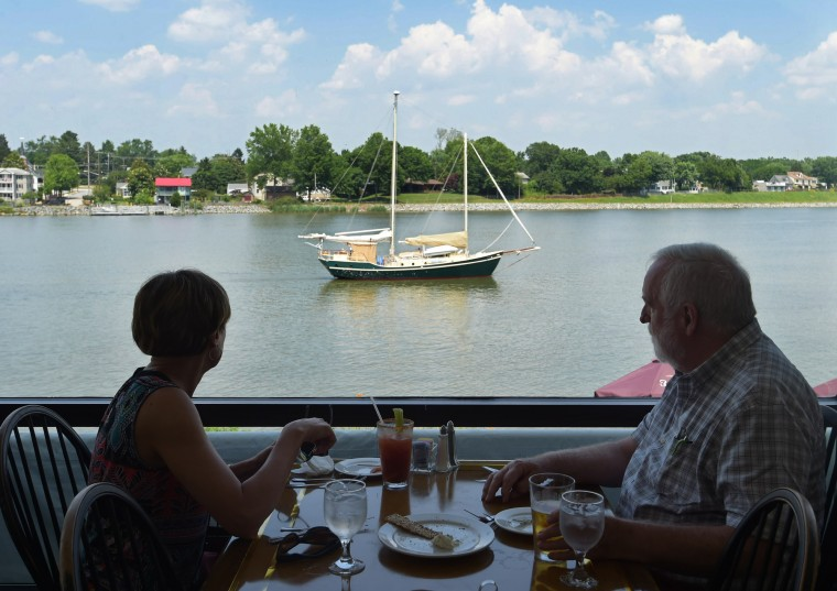 Debbie Allen and Dr. Walter  Roemer, both from Chesterton, watch a boat go by on the C&D Canal from the Bayard House Restaurant. (Algerina Perna/Baltimore Sun)