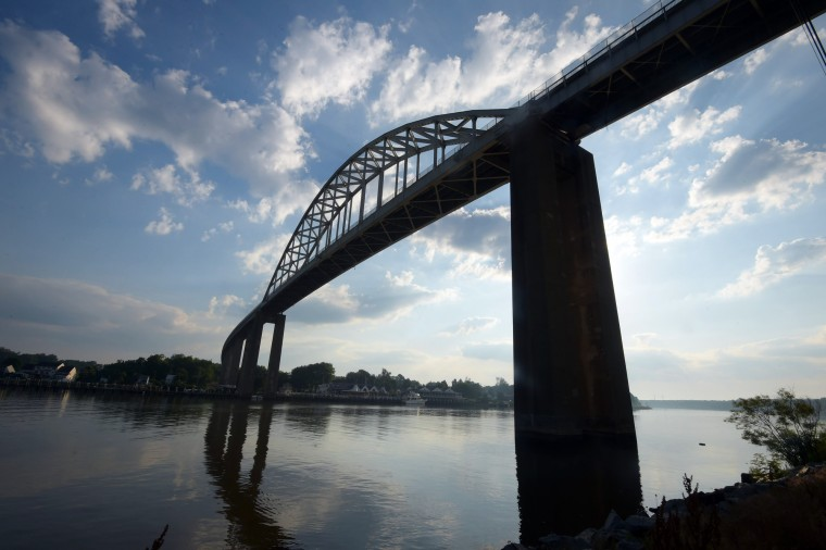 The current Chesapeake City bridge, a suspension arch bridge that spans the C&D canal, was completed in 1949.  (Algerina Perna/Baltimore Sun)