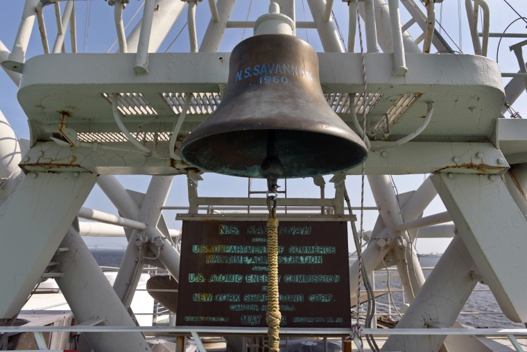 The ship's bell hangs over a replica of the builder's plate, dated May 1962. The N.S. Savannah was built by the New York Shipbuilding Corp. in Camden, N.J. (Amy Davis/Baltimore Sun)