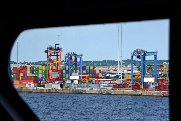 The distinctive, asymmetrical shape of the port promenade's windows are representative of the late 1950s space age design sensibility. Seagirt Marine Terminal is in the distance. (Amy Davis/Baltimore Sun)