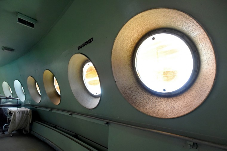 The 30-inch port lights on the enclosed Promenade Deck were fitted with innovative, adjustable polarizing filters to reduce glare when looking out at the ocean. (Amy Davis/Baltimore Sun)