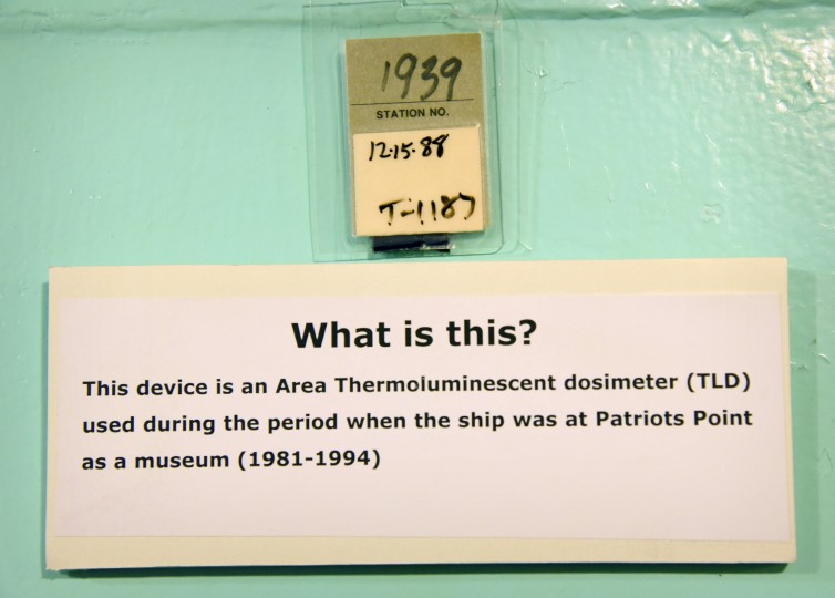A sample dosimeter, worn to monitor exposure to radiation, dates from the time when the N.S. Savannah was operated as a museum at Patriots Point Naval and Maritime Museum in Mt. Pleasant, SC, from 1981 to 1994. (Amy Davis / Baltimore Sun)