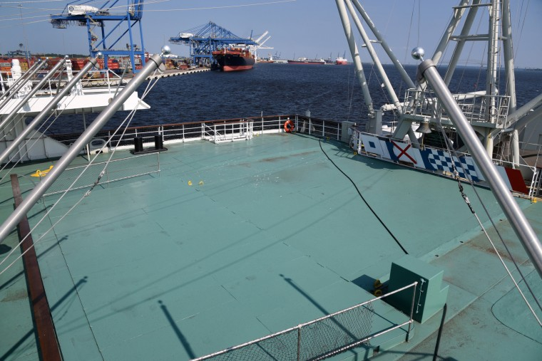 The original swimming pool on the promenade deck, in the foreground, is now covered.  (Amy Davis/Baltimore Sun)