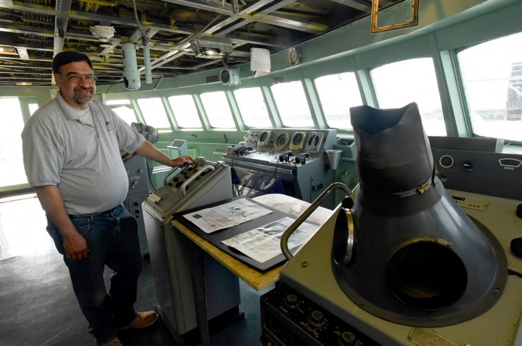 Erhard Koehler, manager of N.S. Savannah programs, pauses on the Bridge, where the weather instruments, navigation and communications equipment are located. (Amy Davis/Baltimore Sun)