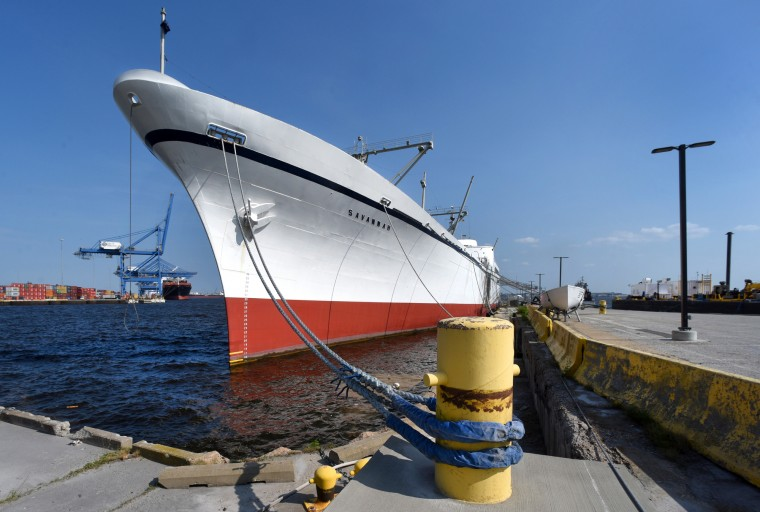 Berthed in Canton between an old coal terminal and Seagirt Marine Terminal, the futuristic white-hulled N.S. Savannah is a commanding presence at Pier 13. (Amy Davis/Baltimore Sun)