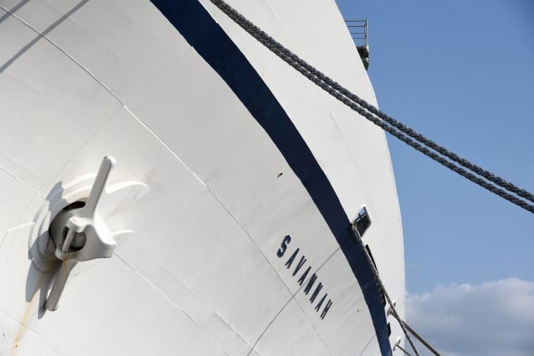 The N.S. Savannah has the sculptured sleek curves of a yacht on a grander scale. (Amy Davis/Baltimore Sun)