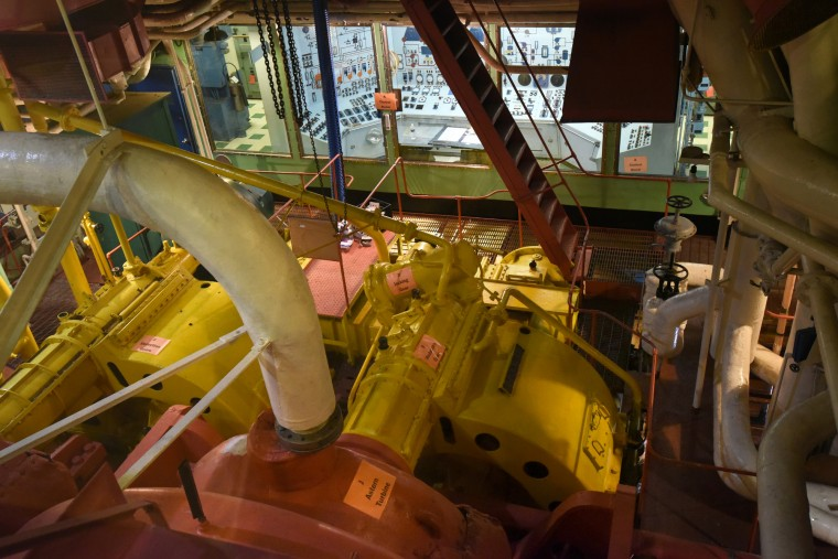 From the galley deck, visitors can look into the engine room, in front, and the control room for the nuclear reactor, in back. (Amy Davis/Baltimore Sun)