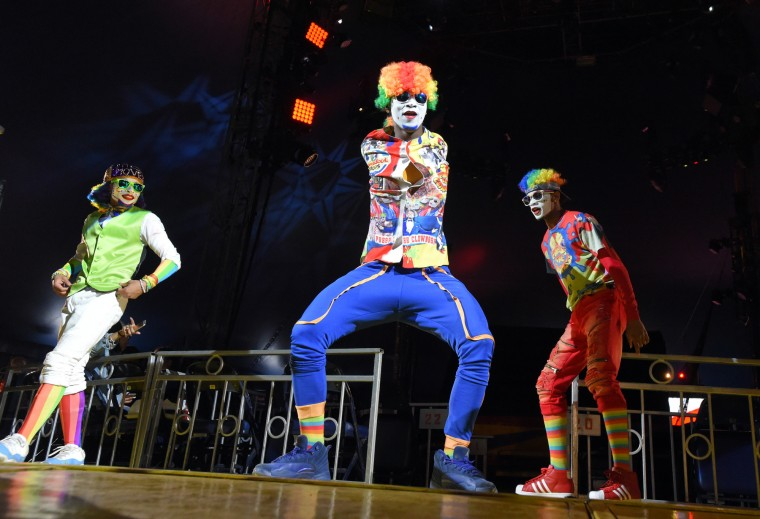 Fresh the Clownsss from Detroit Michigan perform at the circus.  UniverSoul Circus brings their big top performance to Baltimore for 35 shows. (Lloyd Fox/Baltimore Sun)