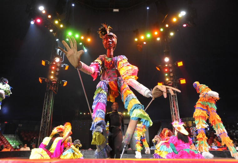 Members of the Caribbean Dynasty from Trinidad & Tobago perform  at the UniverSoul Circus.  (Lloyd Fox/Baltimore Sun)