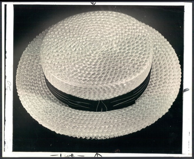 A straw hat, photo dated July 1939. In an era where wearing a hat was mandatory for men, Baltimore led the nation in hat manufacturing. (Baltimore Sun archives)