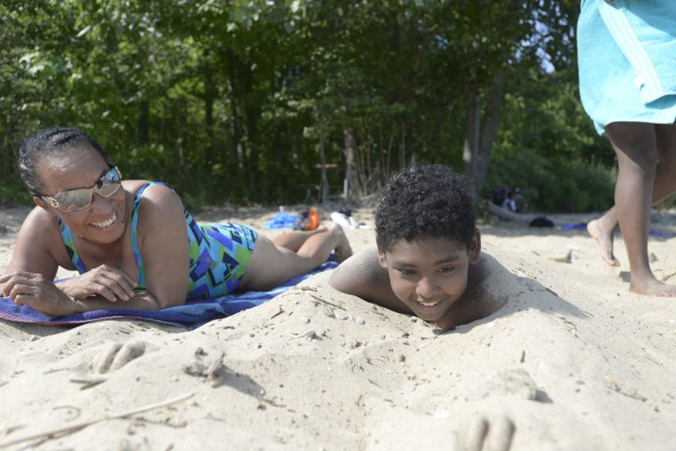 """For Catherine Walker of Highlandtown, here with her grandson, Isaiah Daugherty, 11, North Point means """"family bonding time."""" (Christina Tkacik/Baltimore Sun)"""