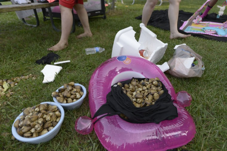 Though fish were hard to come by on a recent visit to North Point State Park, clams were plentiful. Gabe Bruins, 15, and his friends spent an hour digging up clams that they planned to later cook and eat. (Christina Tkacik/Baltimore Sun)