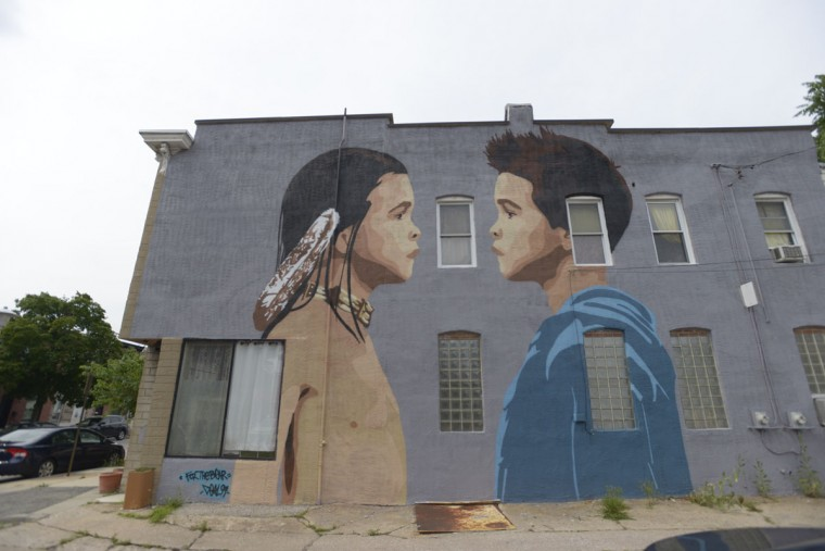 A mural by American Indian artist Gregg Deal adorns the side of a building on Highland Ave. (Christina Tkacik/Baltimore Sun)