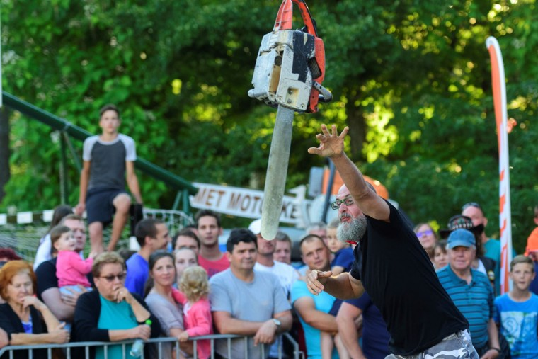 A man competes in the 4th Chainsaw Throw Championship in Kocevje, on July 1, 2017. (JURE MAKOVEC/AFP/Getty Images)
