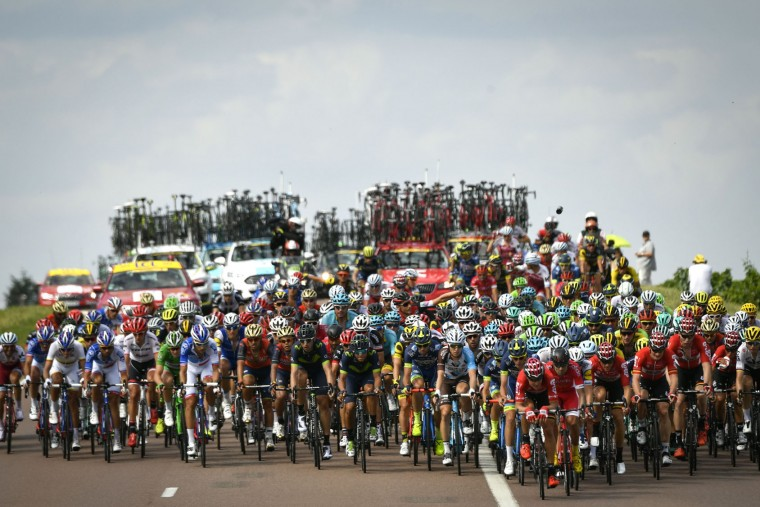 The pack rides during the 213,5 km seventh stage of the 104th edition of the Tour de France cycling race on July 7, 2017 between Troyes and Nuits-Saint-Georges. (Philippe Lopez/AFP/Getty Images)