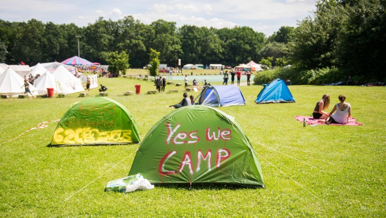 Tents of anti-capitalism activists stand at the protest camp in Altonaer Volkspark park on July 6, 2017 in Hamburg, northern Germany, where leaders of the world's top economies will gather for a G20 summit.More than 100,000 anti-capitalist demonstrators, including several thousand leftwing extremists, are expected to descend on the Hanseatic city ahead of the two-day summit which opens on Friday, July 7, 2017. / (AFP Photo/Dpa / )