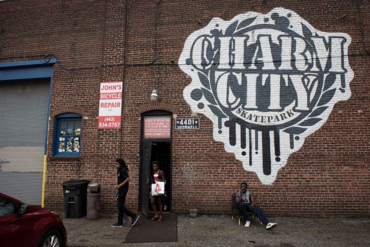 Charm City Skatepark is housed in a warehouse at 4401 O'Donnell in Baltimore. (Michael Ares / The Baltimore Sun)
