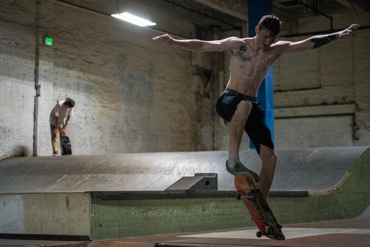 Jake Ensinger, 17, of Dundalk, rides his skateboard inside the Charm City Skatepark in Baltimore on Friday, July 7, 2017. (Michael Ares / The Baltimore Sun)