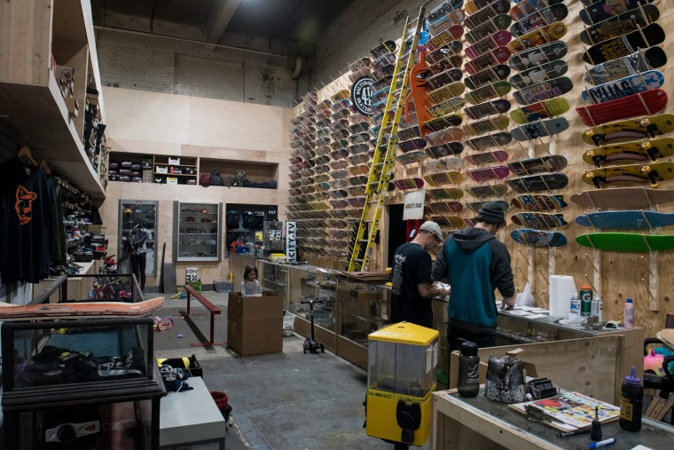The front office at Charm City Skatepark is filled with skateboards, shoes, and other stylish apparel. (Michael Ares / The Baltimore Sun)