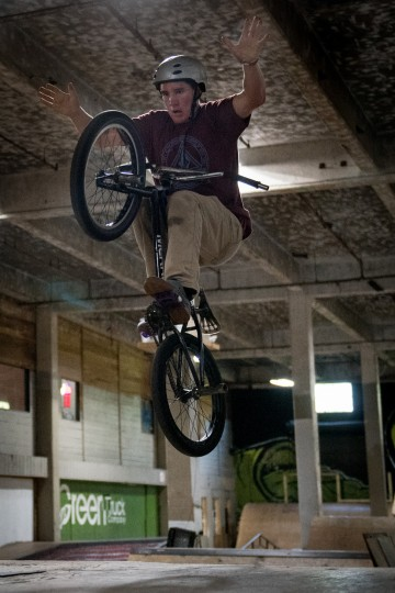 Dakota Cleveland, a 19-year-old visiting from Wellsoboro, Pa., rides his bike inside the Charm City Skatepark in Baltimore on Friday, July 7, 2017. (Michael Ares / The Baltimore Sun)