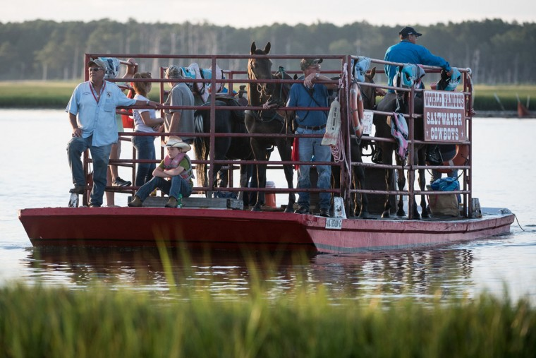 Members of The Saltwater Cowboys arrive at Chincoteague Island, Va., before the start of the 92nd Annual Chincoteague Pony Swim on Wednesday, July 26, 2017. (Michael Ares / The Baltimore Sun)