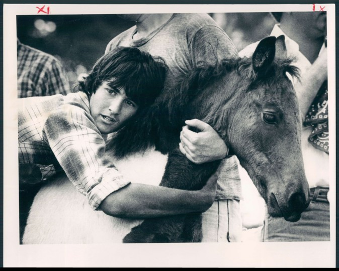 A member of the sales team comforts a nervous horse as it takes its turn on the auction block. Photo dated July 29, 1983. (Baltimore Sun archives)