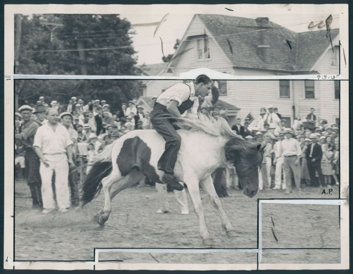 Bauer Adams rides pony, photo dated August 1, 1936. (Baltimore Sun archives)