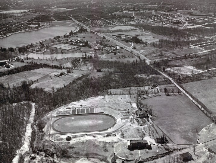 Morgan College is seen looking south along Hillen Road in 1939. (Robert Kniesche/Baltimore Sun)