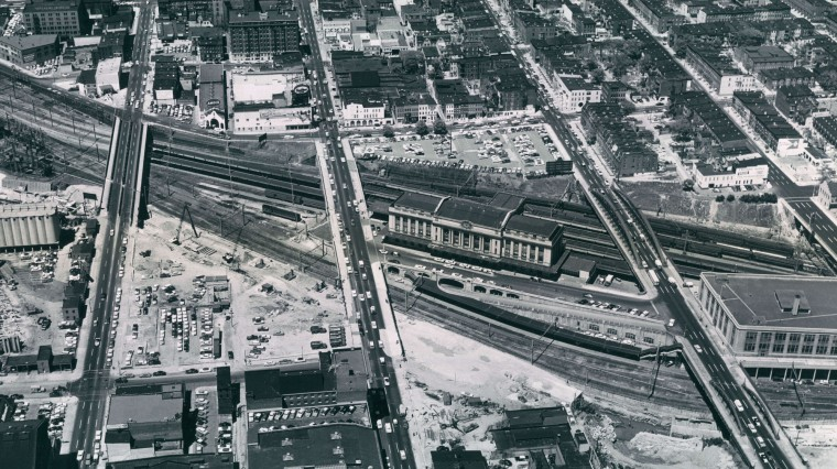 Pennsylvania Station in 1958 during the construction of the Jones Falls Expressway. (Richard Stacks/Baltimore Sun)