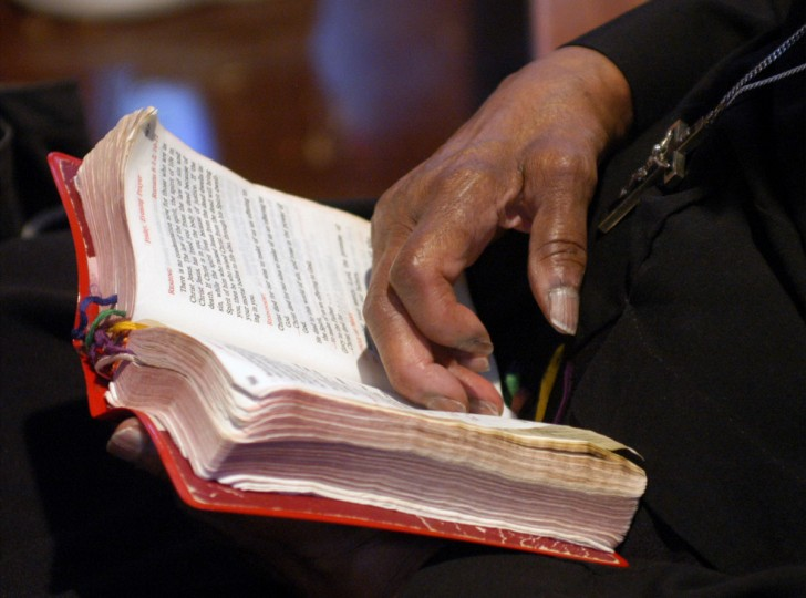 Catonsville, MD--June 25, 2004-- Oblate Sisters of Providence will be celebrating their order's 175th anniversary next week. Here, Sister Fatima Ellis holds her prayerbook. The median age of the sisters is 70. (Barbara Haddock Taylor/Baltimore Sun)