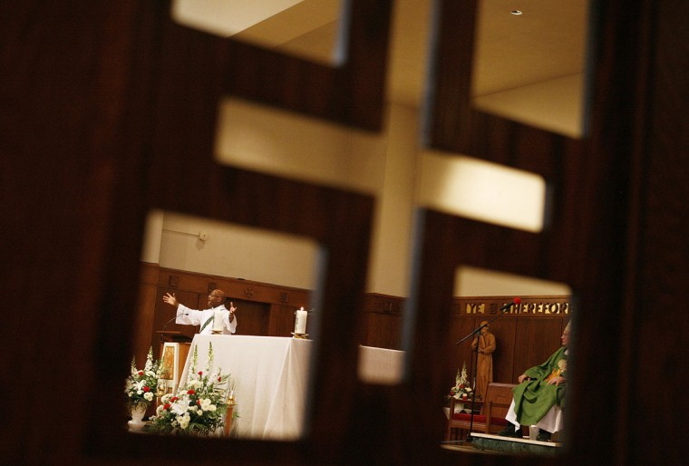 Deacon Paul Shelton delivers the Homily during Sunday's Mass at the Chapel of the Oblate Sisters of Providence. Sunday's service marked the 126th Anniversary of Mother Mary Lange's death. Lange is currently in the process of possible canonization as a saint. (Maisie Crow/Baltimore Sun archives)